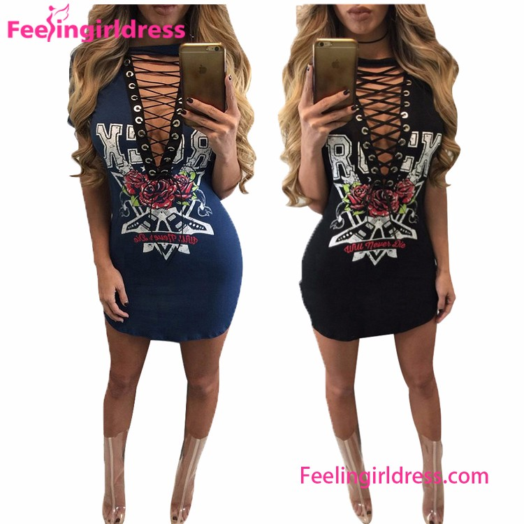 Summer Front Lace Up Short Sleeve Mature Women Sexy Mini Dress