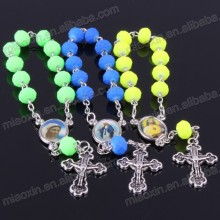 Crystal section beads rosary,religious decade rosary ,Catholic polyhedral rosary necklace