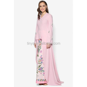High Fashion Sequin Floral Embroidery Batik Print Design Long Top Pink Baju Kurung