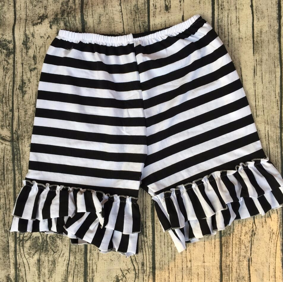 Wholesale Children's Boutique cotton knitted baby summer shorts New Personalized double ruffle Shorts