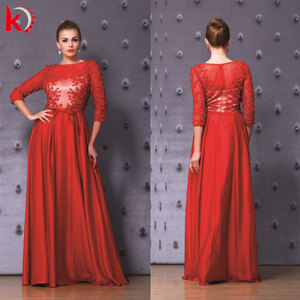 2016 see through latest design formal 3/4 sleeve long maxi evening dress beaded evening gown