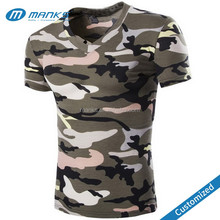 Custom Made Mens High Quality V Neck Camouflage Pattern Casual T Shirt