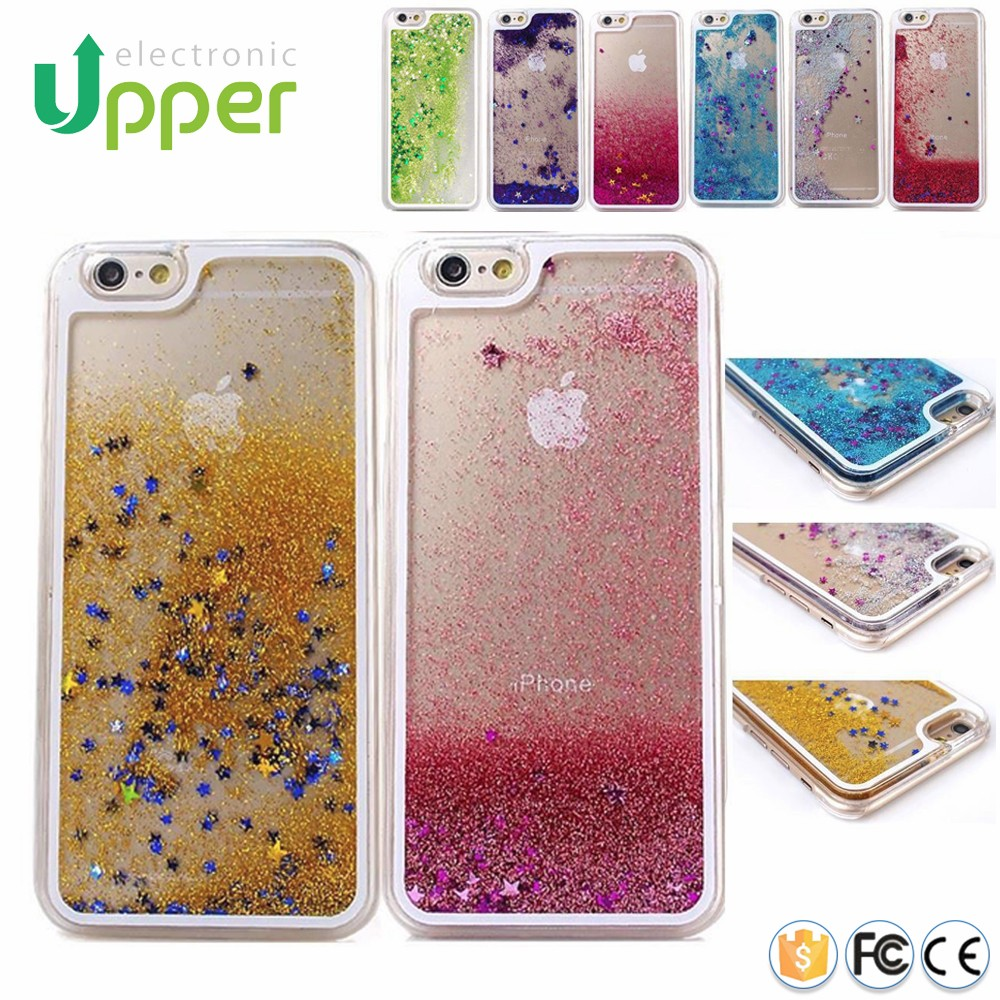3D shockproof Glitter Bling Stars Clear Liquid case hybrid hard back mobile cover for iPhone 4 4S 5 5S 5C 6 6s