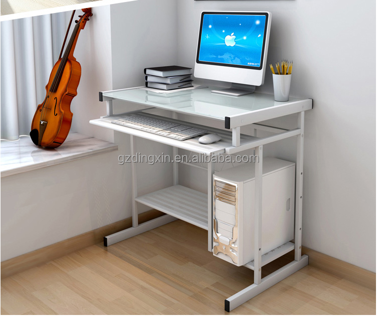 Cheap Living Room Furniture White Metal Glass Computer Desk - Buy ...