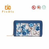 CWLJW5002A001 Newest water colour pattern leather Ladies Beautiful Wallets with silk print flowers