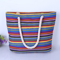 2015 women cotton rope beach bag wide stripe canvas handbag nappy bags