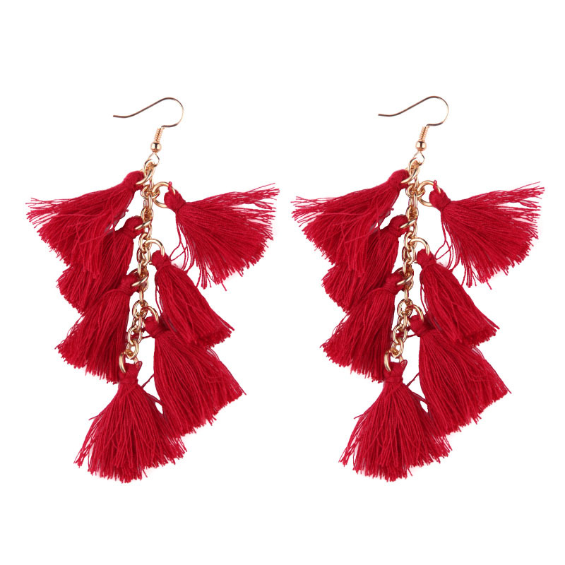 Fashion China Bijoux Ladies Pictures Cotton Tassel Earring Designs for Women