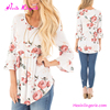 Floral Print Fold Bell sleeves latest fashion female chiffon blouse