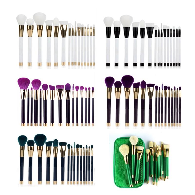 15pcs rose gold aluminium handle natural hair makeup brush set for beginners powder brush blush brush