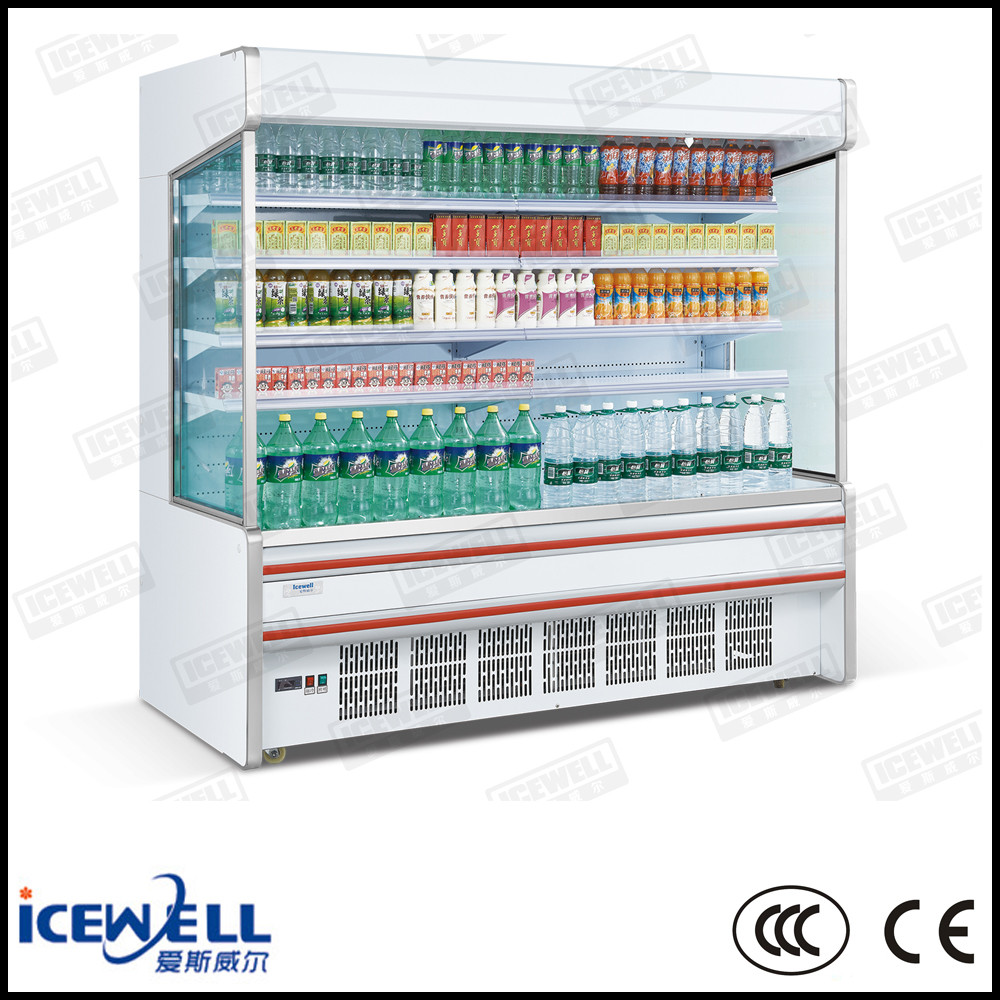 Multi-deck open vegetable display refrigerator for supermarkets