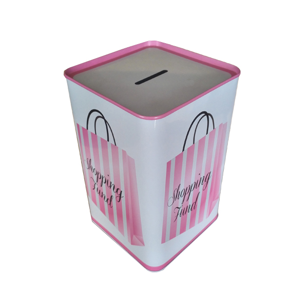 square sealed metal printed coin bank tin money box