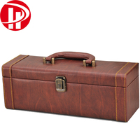 Faux leather wooden gift box for wine bottle/Wine Carrying Case With Open Accessory Set/leather wine carrier
