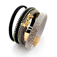 Wide Gold Plating Magnet Closure Cuff Leather with Rivet Diamond Ring Slake Bracelet