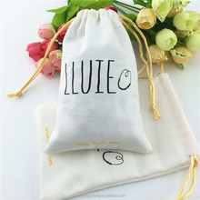 10*15cm Wedding Favor Canvas Jewelry Pouch With Double Drawstring