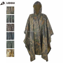 Green PVC Coating Multifunction Rain Poncho For Outdoor Camping, Hunting, Military