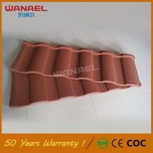 50 years warranty Wanael Roman High Quality Sand Coated Metal Roofing Tiles, red asphalt roof shingles