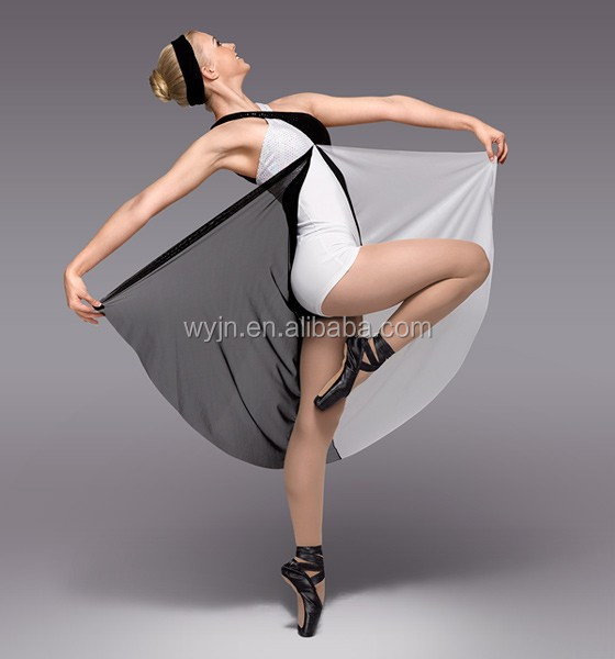 2015 girl's elegent long ballet dance tutu-contemporary &Lyrical black and white chiffon dress