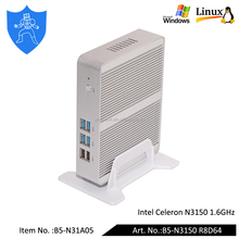 Well Armor Intel Celeron N3150 1.6GHz 4 Core 4 Thread Mini Desktop <strong>Computer</strong> With 300M Wifi RAM 8G SSD 64G Fanless Mini PC