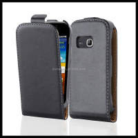 Luxury Genuine Real Flip Leather Case Wallet Cover for Samsung Galaxy Mini 2
