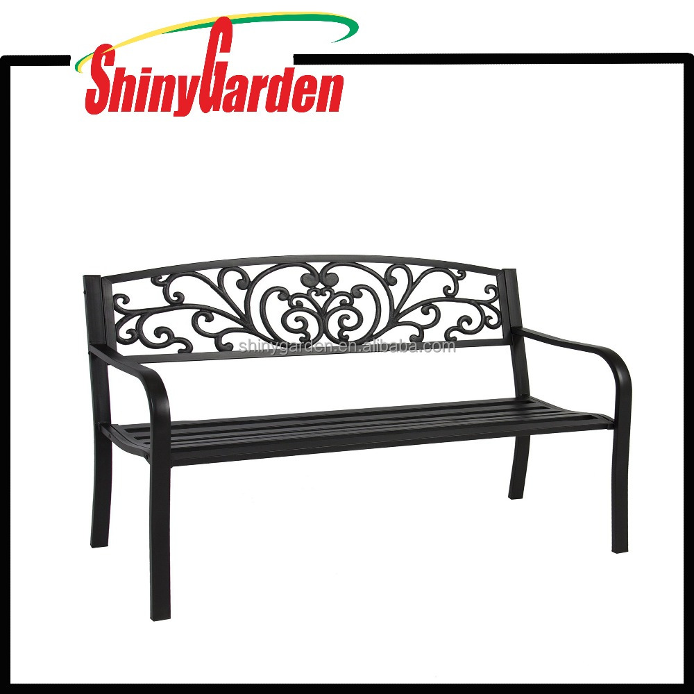 Patio Porch Furniture Outdoor Bench Park Yard Garden Steel Frame Chair