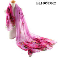 Fashion Scarves Shawls 90*180cm New Design Hot Pink Butterflies Roses Printed Voile Viscose Lady Scarf