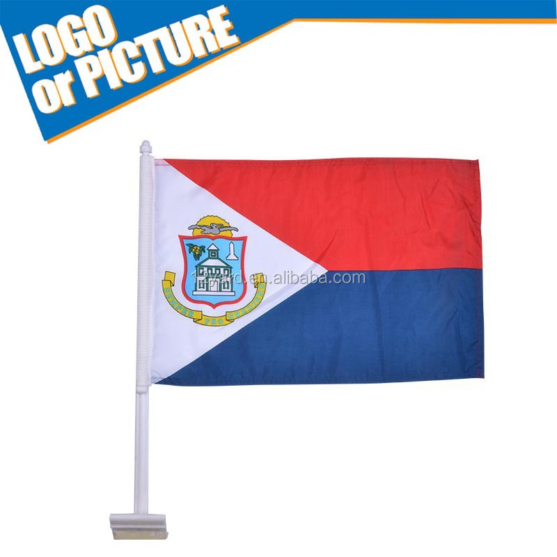 Cheap Promotion g soccer club handing flag Car widow Flag with plastic flagpole