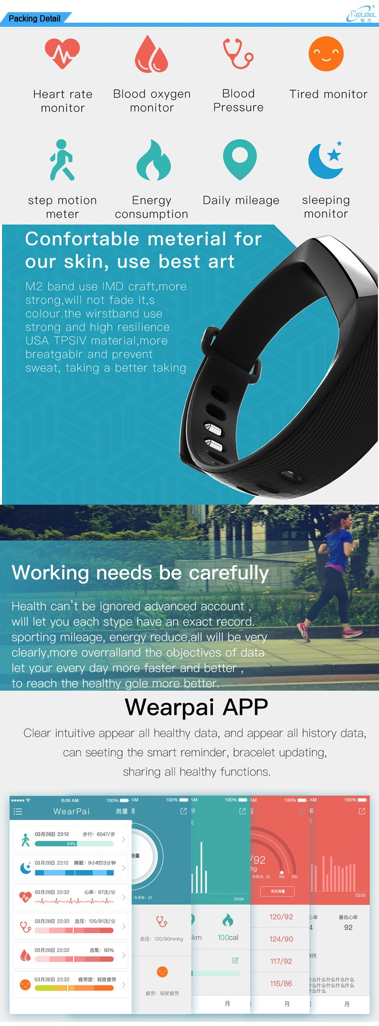 M2 Pedometer iOS Android wearable Heart Rate Blood Pressure Band Oxygen Oximeter Bluetooth Smart Bracelet