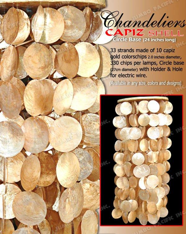 Capiz Chandelier In Round Wooden Base Hanging S On Alibaba Com