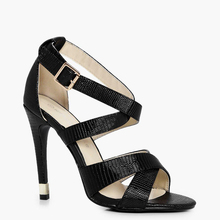 2017 New Fashion High Heel with Ankle Buckled Strap Sexy Black Lady Sandals Women Shoes