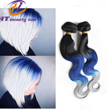 New Arrival black and bule white color Ombre Cambodian body wave No Tangle human Virgin Hair Ombre color hair