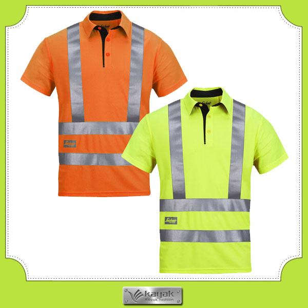 Custom safety hi vis yellow work uniform polo shirt design for Custom hi vis shirts