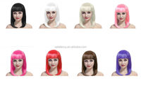 Cheap Synthetic Long Bob Cut Wig 1980's Ladies Fancy Dress Hair Wig in Various Colours QPWG-2030