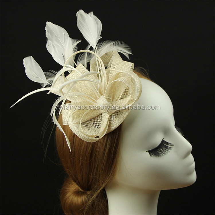 Fashion Party Bridal Women Headband Cream Fascinator With Feather