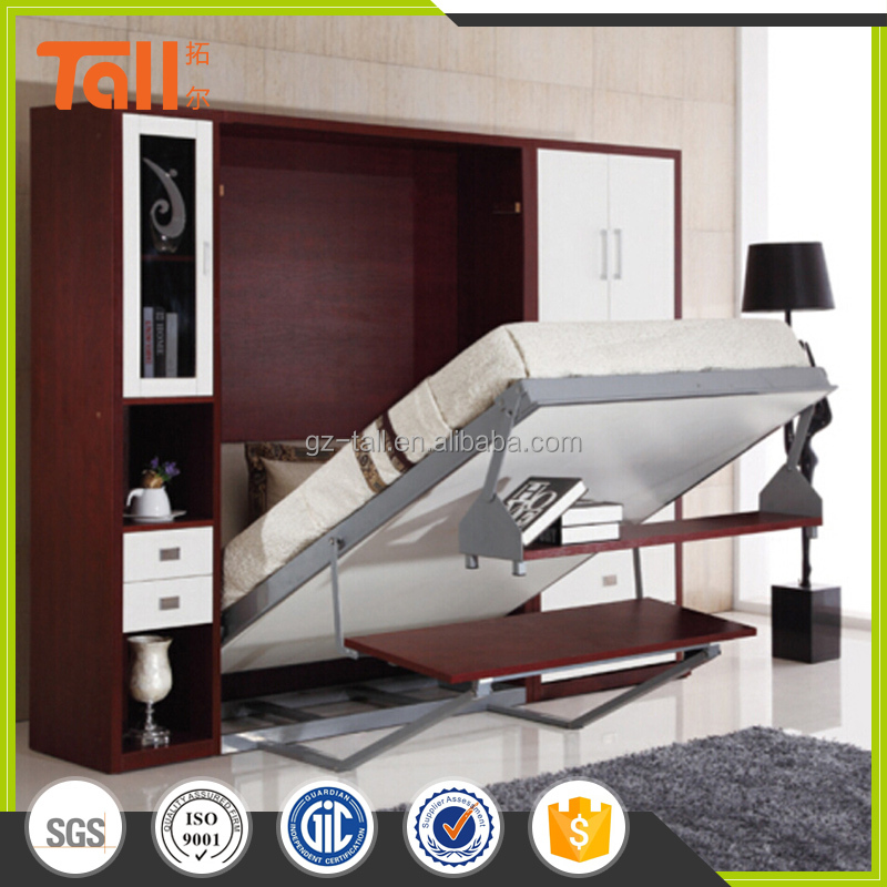 Affordable wall mounted bed, modern Murphy bed with desk