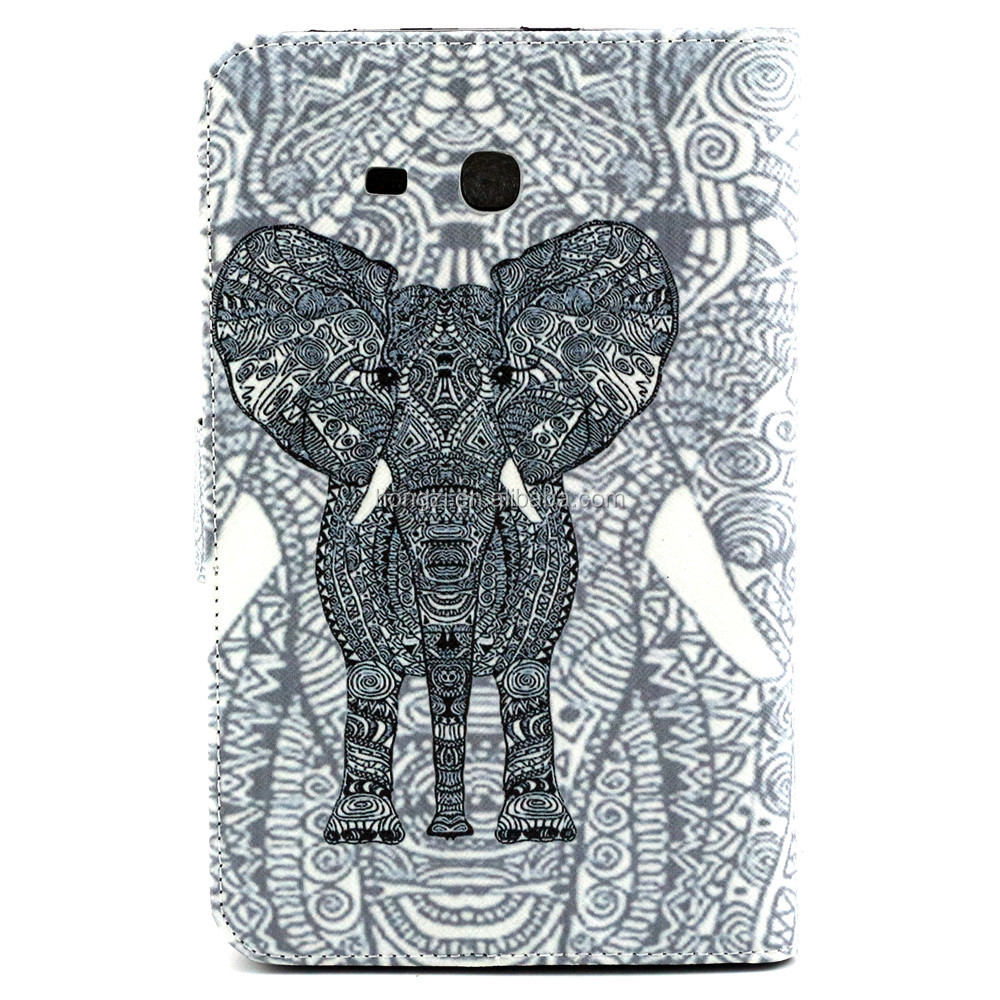 For GALAXY Tab 3 Lite T110 Ceramic elephant Pattern Flip Smart Stand Leather Case For Samsung Luxury Folding Cover Case Pouch
