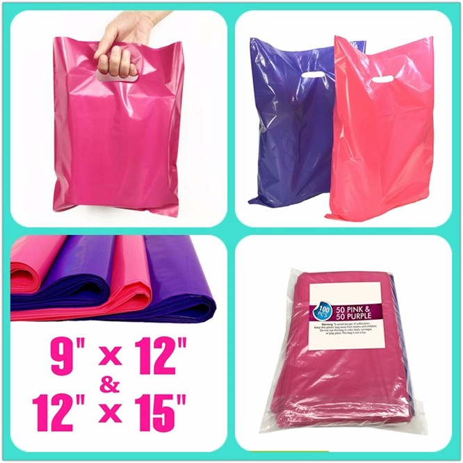 Factory Wholesale Glossy LDPE Fold Over Die Cut Handle Custom Plastic Retail Merchandise Bags