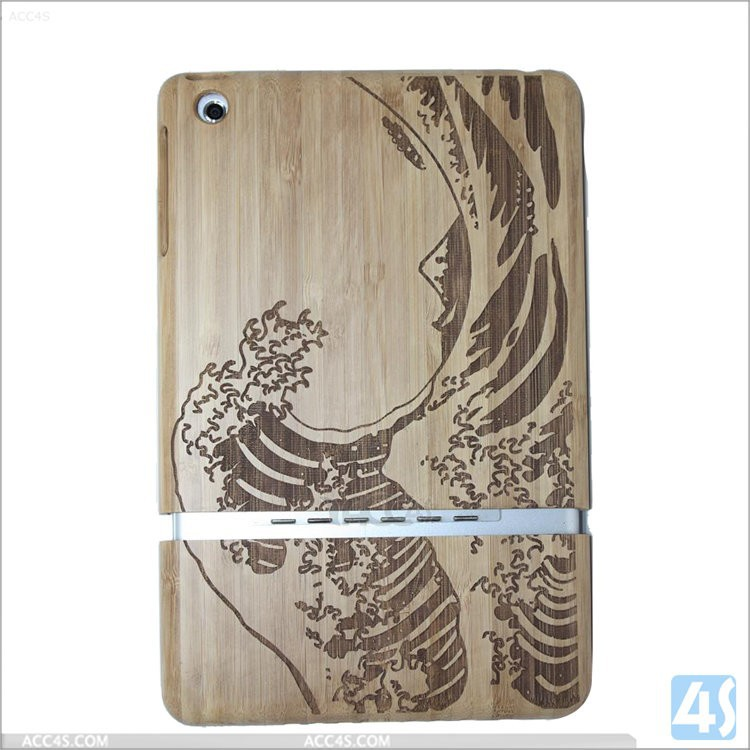 Fashion tablet accessories carbonized bamboo handmade two parts design wood cover case for ipad 5