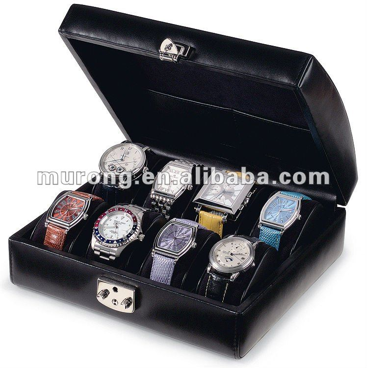 8pcs display leather watch case black