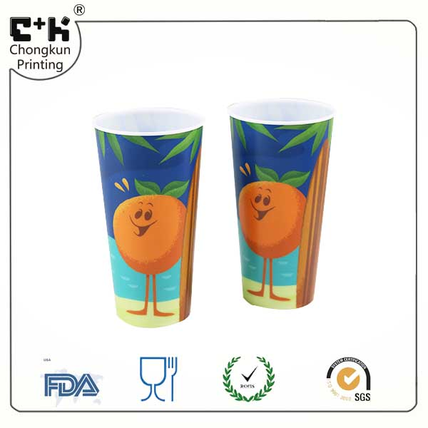 wholesale plastic cups Hallowmas pumpkin design with lids 500ml