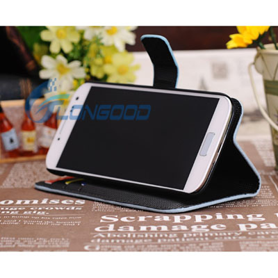 Lichi Texture Horizontal Flip Button Stand Leather mobile phone Cover Case for Samsung Galaxy S4 i9500