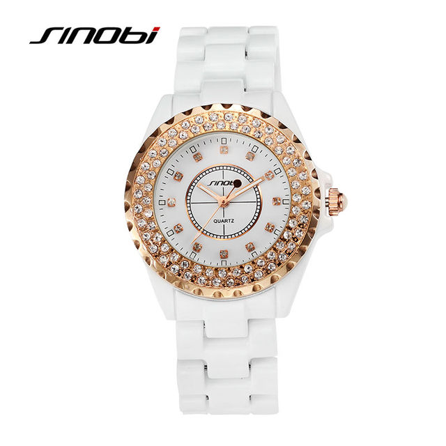 SINOBI Women's Ceramics Wrist Quartz Watch with Diamond Rose Gold Case Ladies Fashion Watches Female White Round Wristwatches