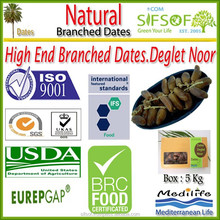 "Natural Branched Dates. High Quality Dates ""Deglet Noor"" Category. Branched Dates Fruit 5 Kg (11 Lbs)"