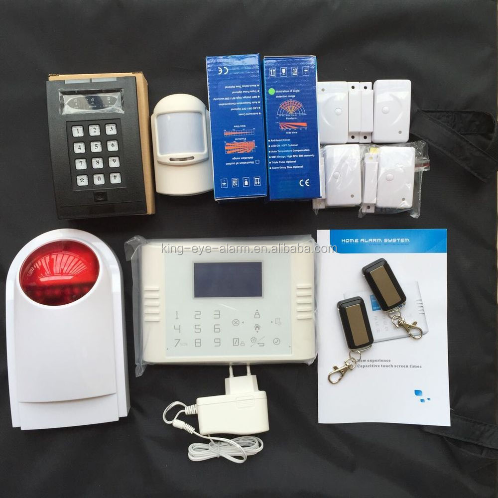 DIy APP touch screen burglar alarm home, wireless gsm alarm system sim card with 4 wireless relay output for smart socket