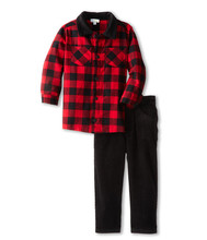 Custom Popular Children Smart Casual Plaid Shirt Pant Sets