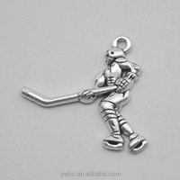Antique silver Sports ice Hockey player pendant charms