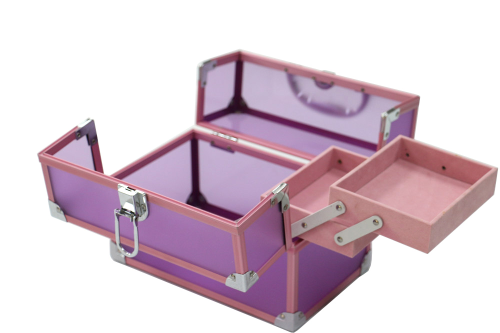 Elegant Purple Acrylic Panel With Pink Aluminum Frame Cosmetic Box