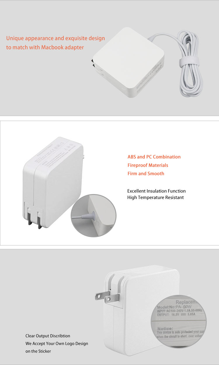 CE ROHS FCC 16.5V 3.65A Laptop adapter Charger 45W 60W 85W AC DC Power Adapter for Apple MacBook Pro