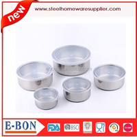 stainless steel salad bowl with Plastic Lids