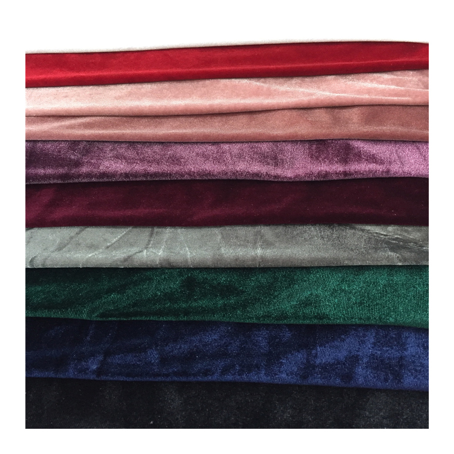 small MOQ elastic and soft plain ks velvet fabric with <strong>polyester</strong> for garment on stock