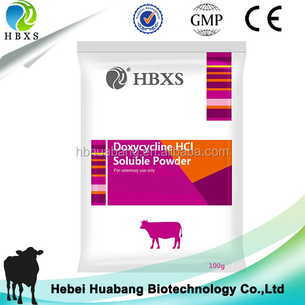 Doxycycline hydrochloride soluble powder treat susceptible bacterial infections
